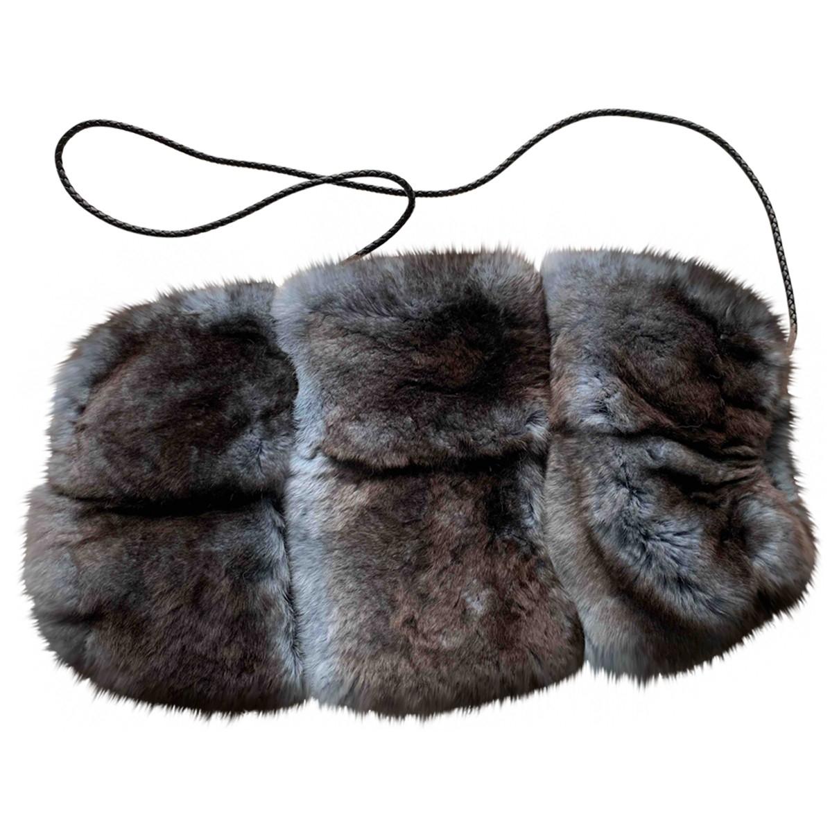 Fendi \N Blue Rabbit Gloves for Women One Size FR