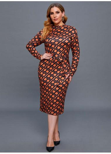 Argyle Print Belted Plus Size Dress - 2XL