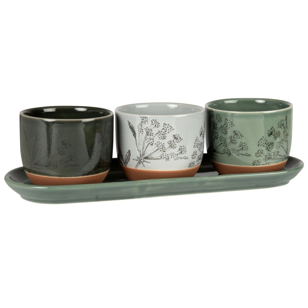 Aperitiftablett mit 3 Schalen aus Steinzeug, bedruckt