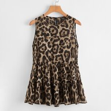 Keyhole Back Tiered Hem Leopard Chiffon Top