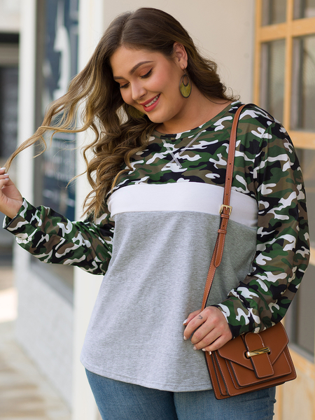 Yoins Plus Size Camo Round Neck Long Sleeves Sweatshirt