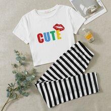 Letter Graphic Tee & Stripe Pants PJ Set