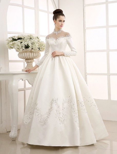 Milanoo Ivory Wedding Dress/Ball Gown with High Collar Applique