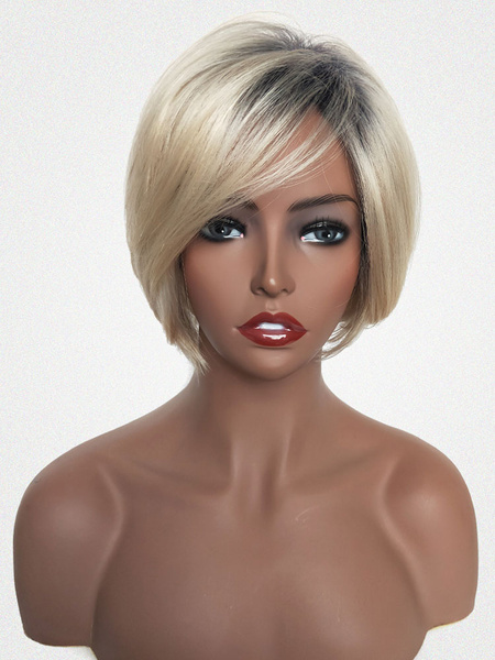 Milanoo Human Hair Wigs Light Blonde Side Parting Short Hair Wigs For Women