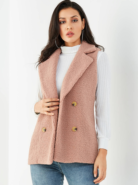 Yoins Pink Double Breasted Design Lapel Collar Faux Fur Waistcoat