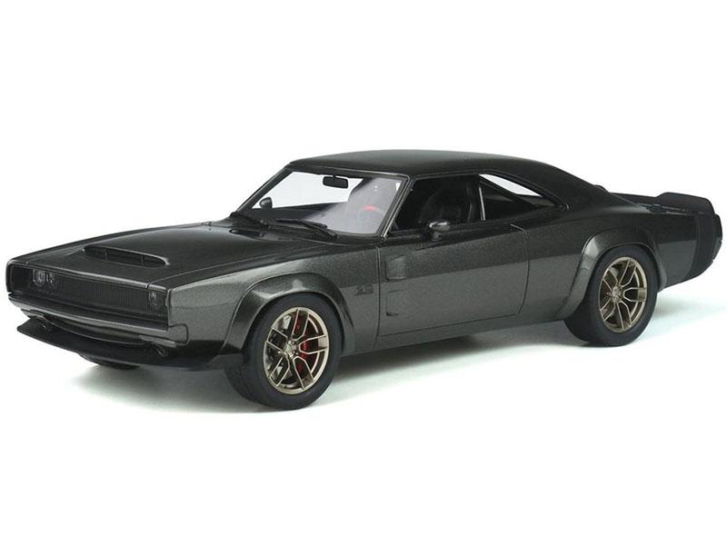1968 Dodge Super Charger Hellephant Dark Gray Metallic with Black Tail Stripes 1/18 Model Car by GT Spirit