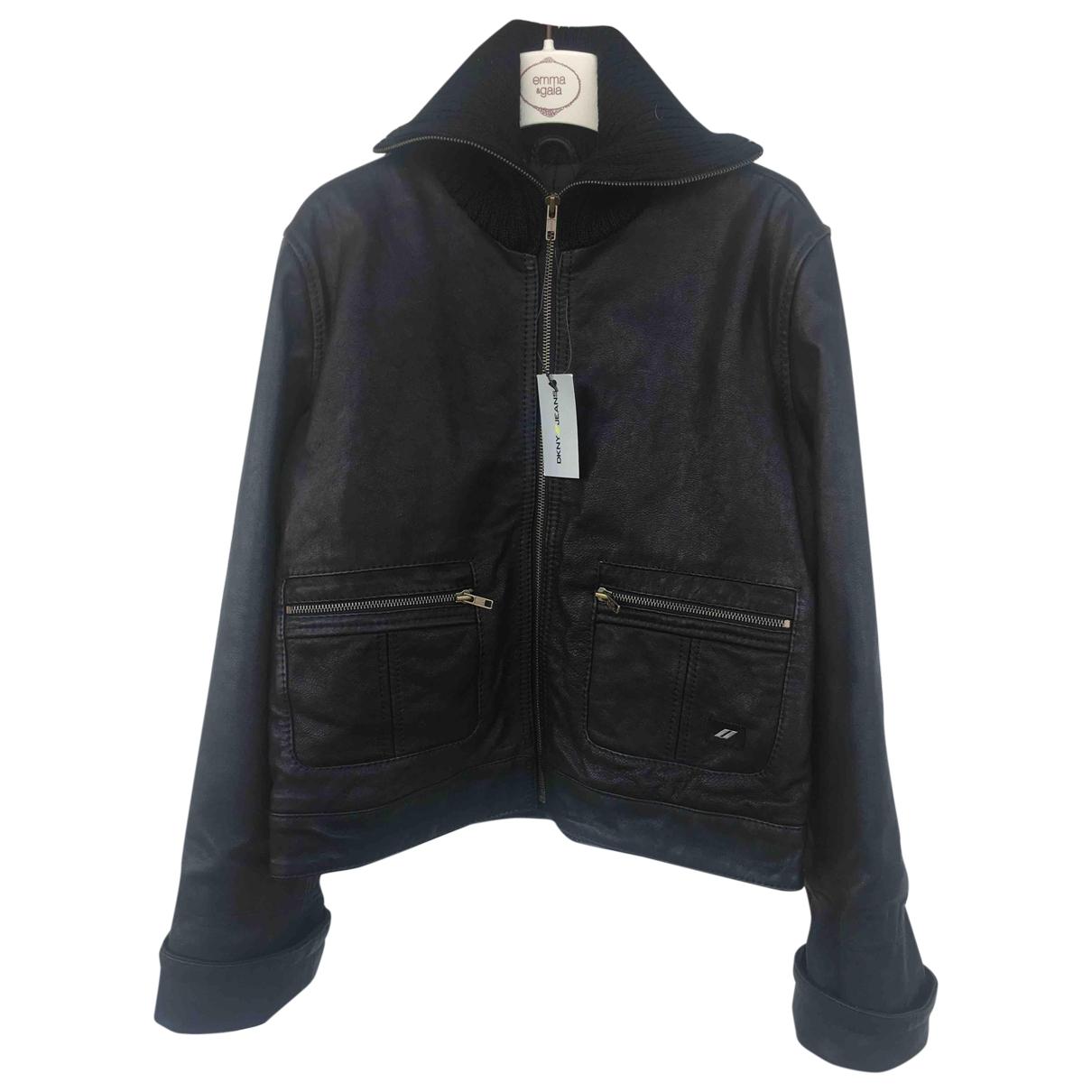 Dkny \N Black Leather Leather jacket for Women M International