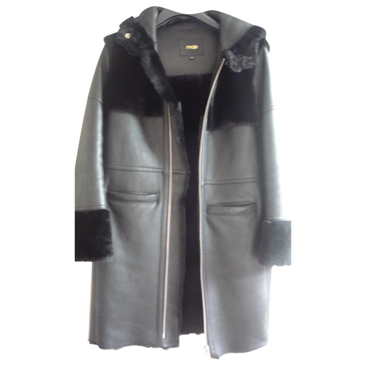 Maje \N Black Leather coat for Women 38 FR