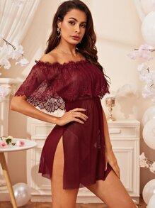 Contrast Lace Flounce Mesh Dress