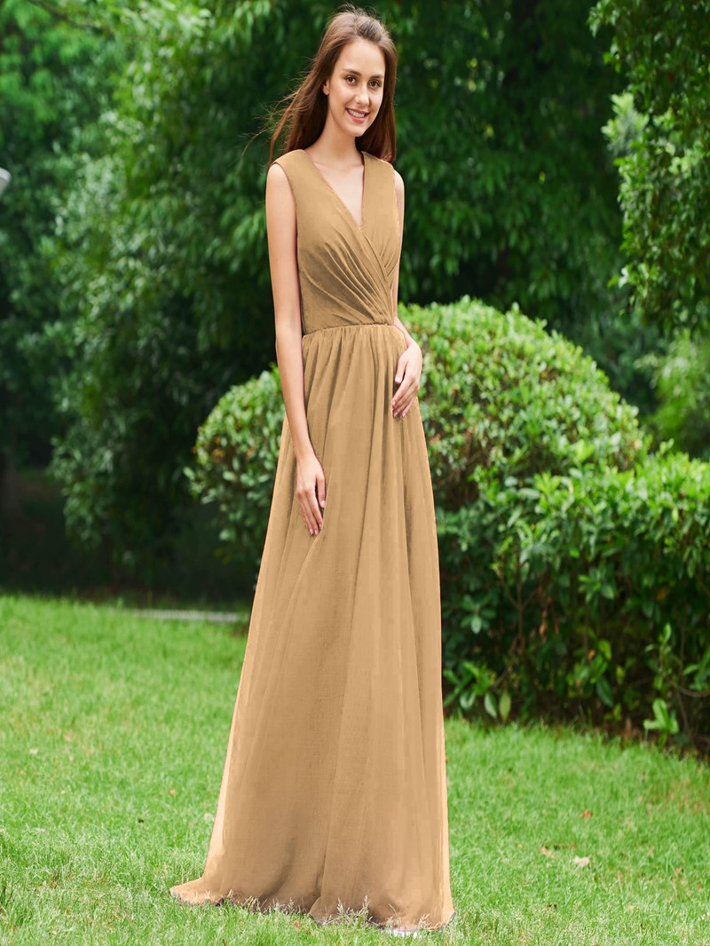 Ericdress A Line V Neck Backless Long Evening Dress