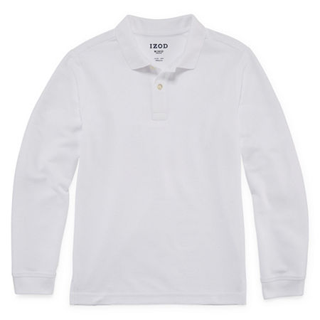 IZOD Pique Little & Big Boys Long Sleeve Stretch Polo Shirt, Xx-small , White