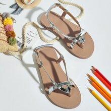 Kleinkind Maedchen metallische Sandalen mit Zehenpfosten