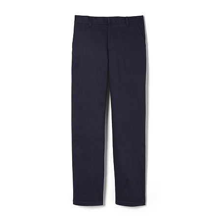 French Toast Big Boys Straight Flat Front Pant, 16 , Blue
