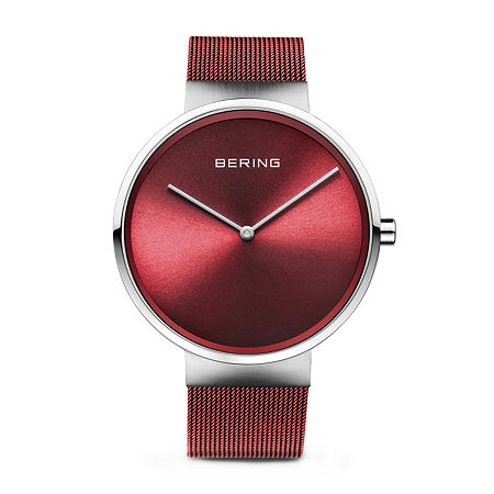 Bering Mens Red Stainless Steel Bracelet Watch-14539-303, One Size , No Color Family