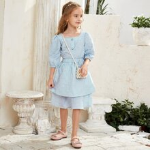 Toddler Girls Button Puff Sleeve Blouse With Layered Skirt