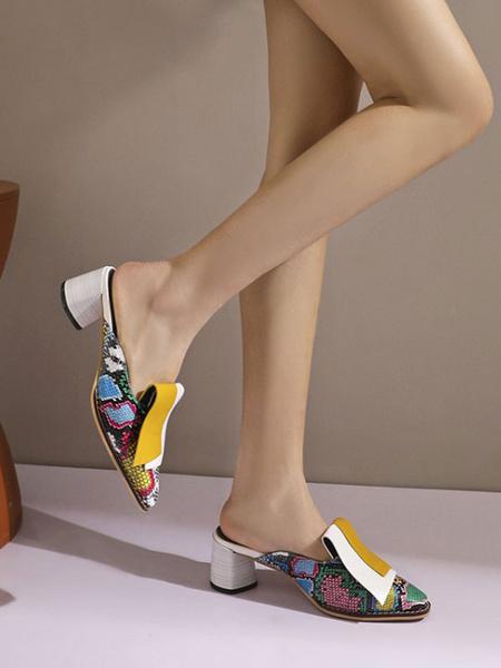 Milanoo Zuecos de mujer Zuecos Cuero de PU Zapatos de punta cuadrada con estampado de serpiente Zapatos con cuña