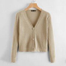 Button Front Rib-knit Cardigan