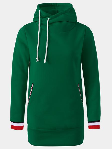 Yoins Green Hooded Design Pullover Long Sleeves Hoodie