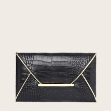 Croc Embossed Envelope Clutch Bag