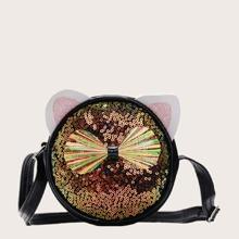 Girls Bow & Sequin Decor Crossbody Bag