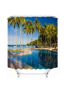 Peaceful Seaside Resort 3D Printed Bathroom Waterproof Shower Curtain