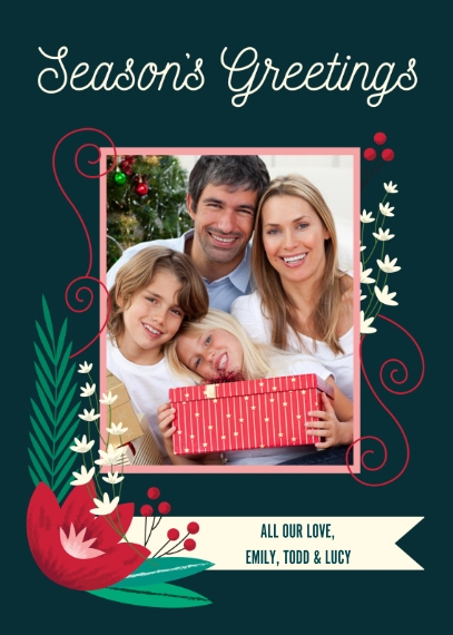 Holiday Classic 5x7 Folded Cards, Standard Cardstock 85lb, Card & Stationery -Holly Seasons Greetings
