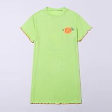 Girls Orange Print Lettuce Trim Nightdress