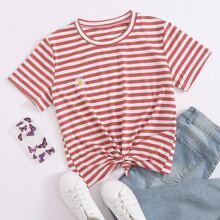 T-Shirt mit Streifen und Gaensebluemchen Stickereien