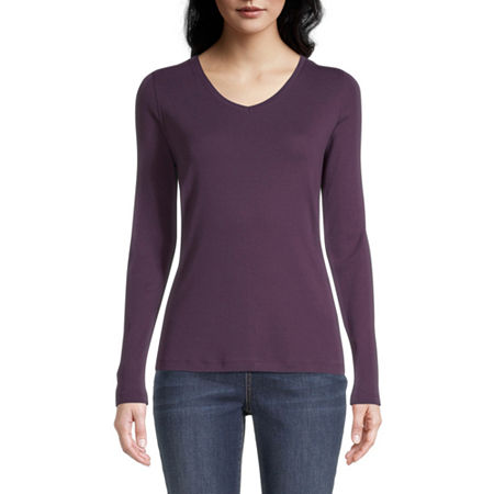 St. John's Bay-Womens Scoop Neck Long Sleeve T-Shirt, Small , Purple