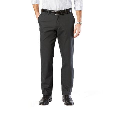 Dockers Men's Straight Fit Signature Khaki Lux Cotton Stretch Pants D2, 42 30, Gray