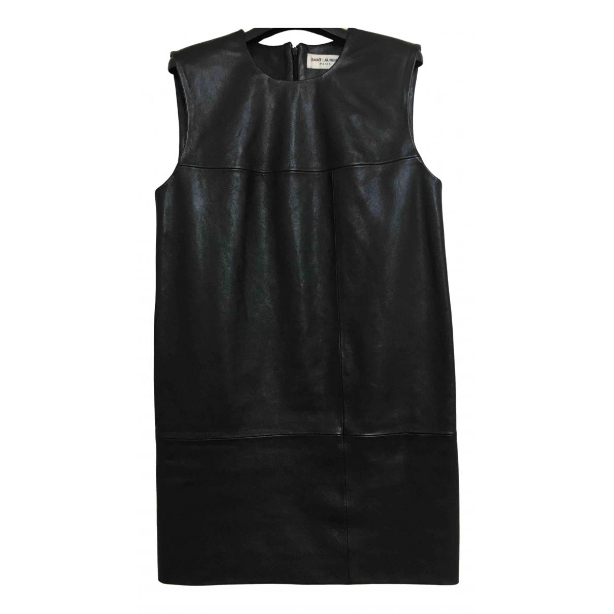 Mini vestido de Cuero Saint Laurent