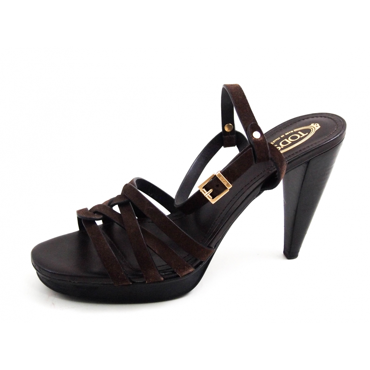 Tods - Sandales   pour femme en suede - marron