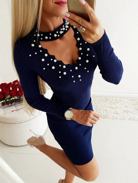 Yoins Navy Pearl Details Cut Out Choker Neck Long Sleeves Dress