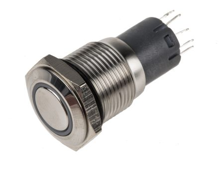 RS PRO Single Pole Double Throw (SPDT) Latching White LED Push Button Switch, IP65, IP67, 16 (Dia.)mm, Panel Mount,