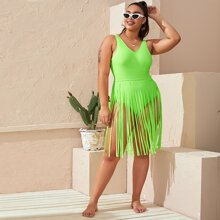 Plus Neon Green Fringe Hem One Piece Swimsuit