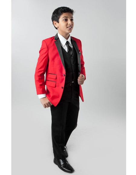 Boys 3 Piece Red Single Breasted Slim Fit 4 Button Vest Suit
