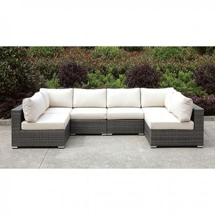Somani CM-OS2128-SET6 U-Sectional with 2 Corner Chairs and 4 Armless Chairs in Gray Wicker/Ivory