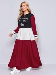 Plus Slogan Graphic Striped Cuff Colorblock Dress