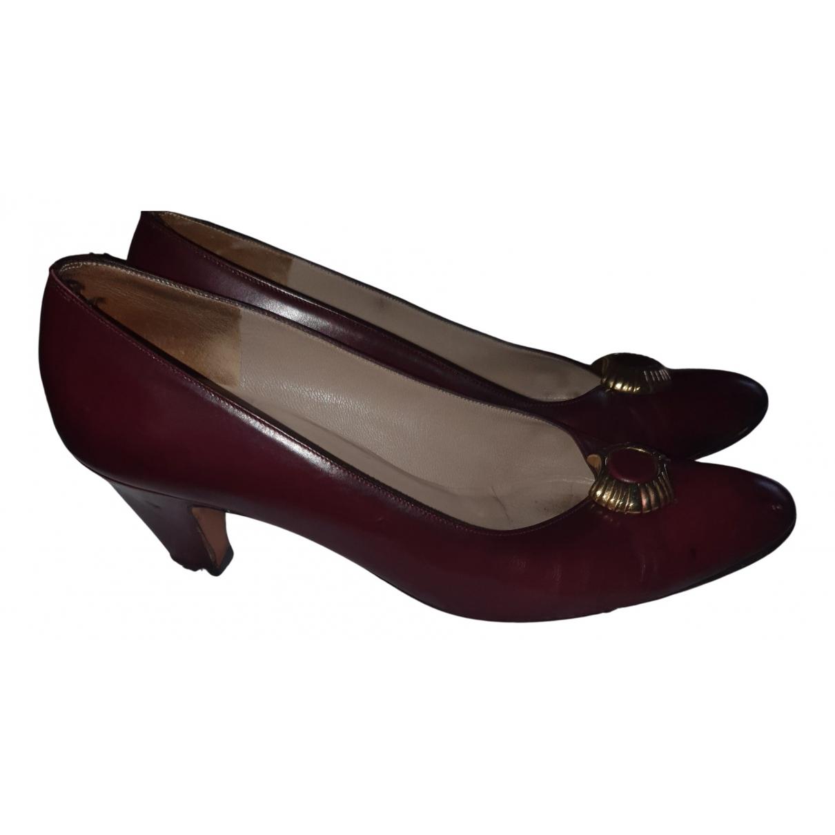 Salvatore Ferragamo N Burgundy Leather Heels for Women 37 EU