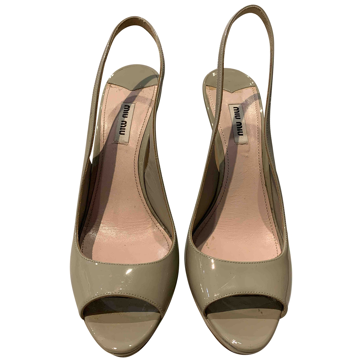 Miu Miu \N Beige Patent leather Sandals for Women 40 EU