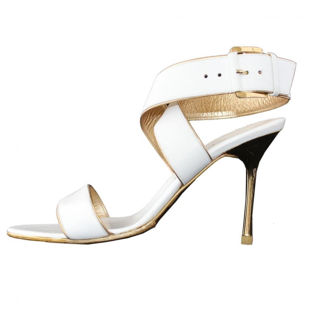 Celine - Sandales   pour femme en cuir - blanc