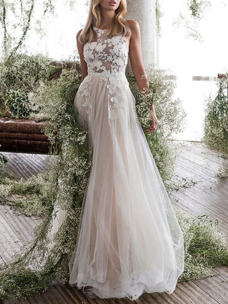 Milanoo Wedding Dress Jewel Neck A Line Sleeveless Flowers FloorLength Backless Bridal Gowns