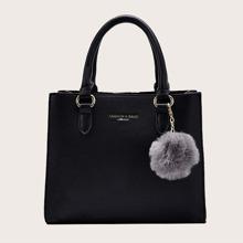 Pom Pom Decor Satchel Bag