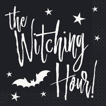 Serviettes de boisson Halloween chauves-souris noires pour la maison décor, 24pcs/pack