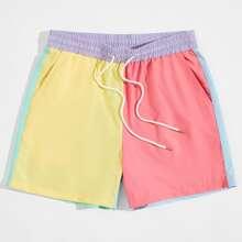 Shorts mit Kordelzug um die Taille und Farbblock