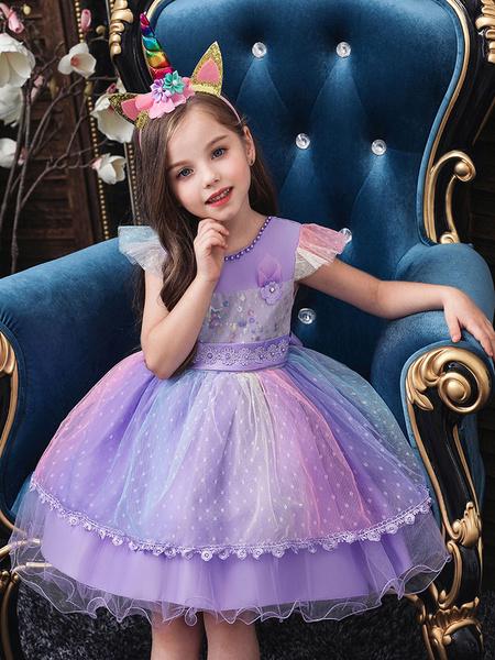 Milanoo Flower Girl Dresses Jewel Neck Tulle Short Sleeves Knee Length Princess Silhouette Flowers Kids Social Party Dresses