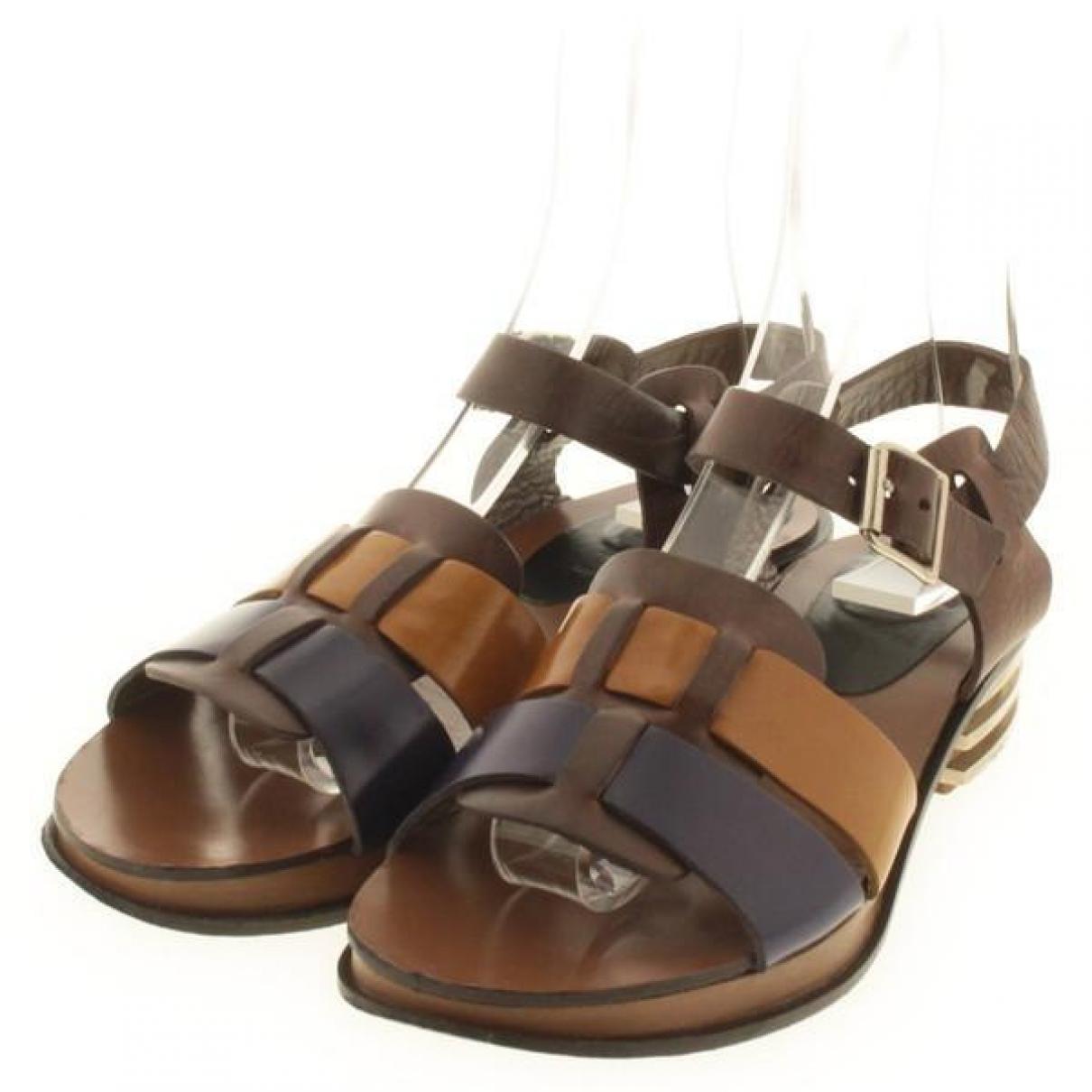 Marni - Sandales   pour femme en cuir - marron