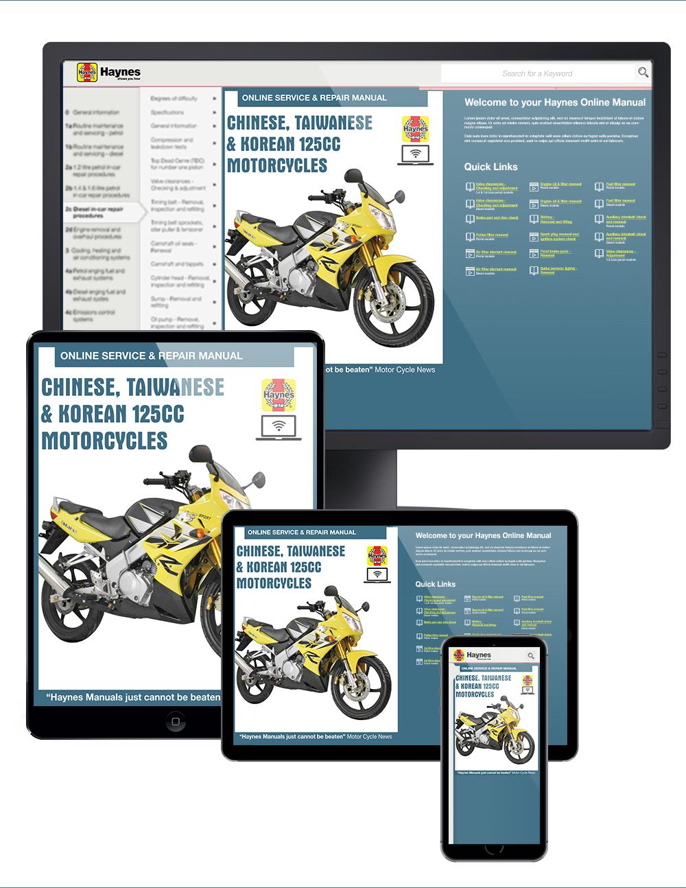 Chinese, Taiwanese & Korean 125cc Motorcycles Haynes Online Manual