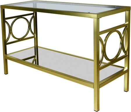 Augustine Collection Sofa Table with Clear Tempered Glass Top  Mirror  Bottom Shelf and Metal Base in