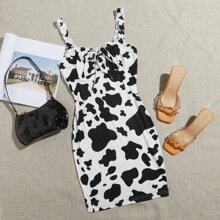 Vestido ribete con fruncido con cordon delantero con estampado de vaca